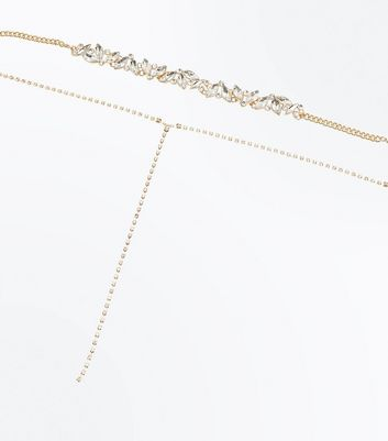 Rose Gold Gem Embellished Layered Necklace