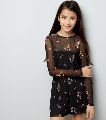 Teens Black Floral Print Mesh Playsuit