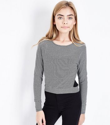 Teens Black Stripe Side Cut Out Top