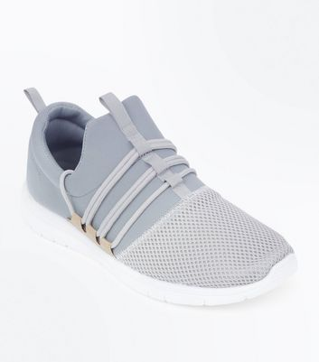 Grey Lace Up Runner Trainers
