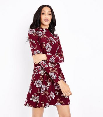 Red Floral High Neck Swing Dress