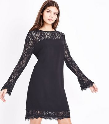 Black Lace Trim Bell Sleeve Tunic Dress
