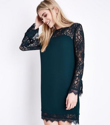 Green Lace Trim Bell Sleeve Tunic Dress