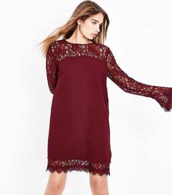 Burgundy Lace Trim Bell Sleeve Tunic Dress