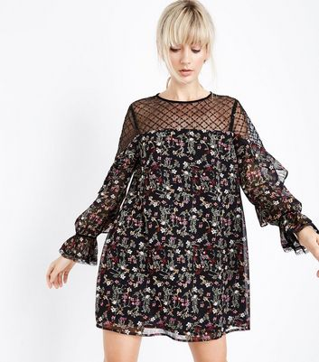 Black Floral Sequin Mesh Yoke Tunic Dress