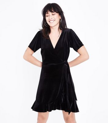 Black Velvet Frill Trim Wrap Dress