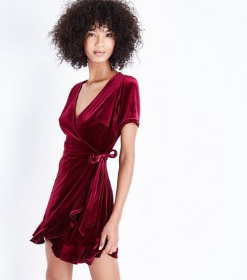 Burgundy Velvet Frill Trim Wrap Dress