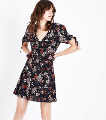 Black Floral Frill and Lace Trim Tea Dress