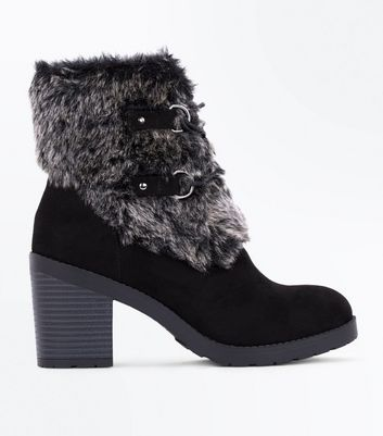 Black Suedette Faux Fur Trim Boots