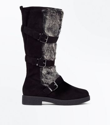 Black Faux Fur Trim High Leg Boots