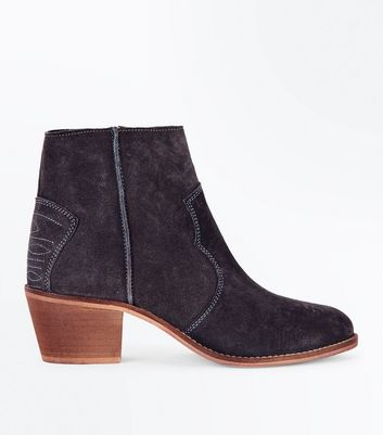 Grey Suede Western Stitch Heeled Ankle Boots