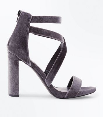 Grey Velvet Strappy Block Heel Sandals