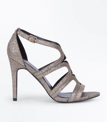 Gold Glitter Swirl Strap Stiletto Sandals