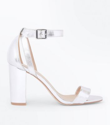 Silver Metallic Block Heel Sandals