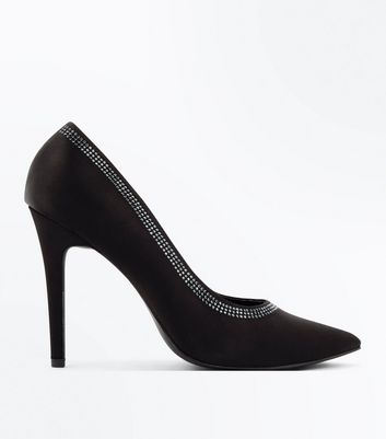 Black Satin Diamante Trim Court Shoes
