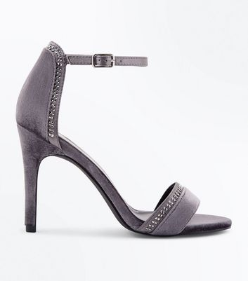 Grey Velvet Diamante Embellished Stiletto Sandals