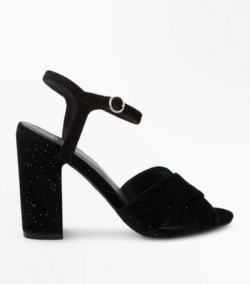 Black Velvet Glitter Cross Strap Block Heels