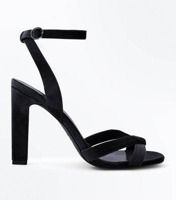 Black Velvet Cross Strap Slim Block Heel Sandals