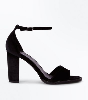 Black Velvet Diamante Trim Block Heels