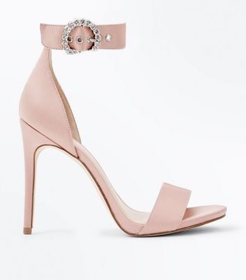 Nude Satin Diamante Ring Buckle Sandals