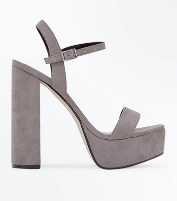 Grey Suedette Platform Block Heel Sandals