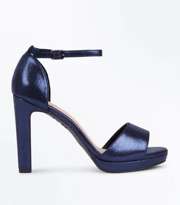 Navy Metallic Comfort Block Heel Platform Sandals