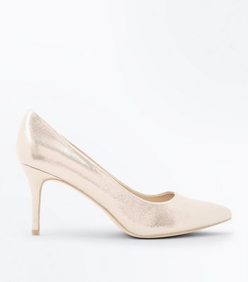 Gold Metallic Pointed Court Shoes