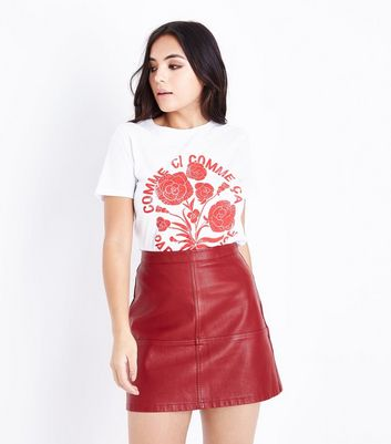 Petite Dark Red Leather-Look Mini Skirt
