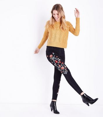 Tall Black Floral Embroidered Skinny Jeans