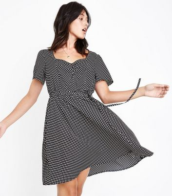 Tall Black Polka Dot Sweatheart Neck Dress