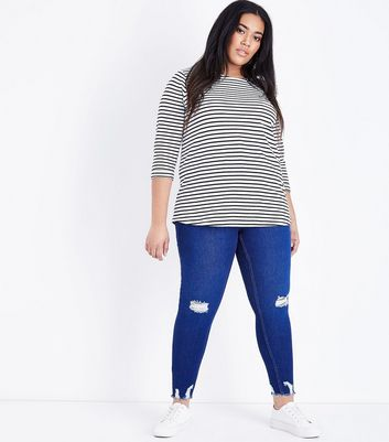 Curves Bright Blue Raw Hem Skinny Jeans