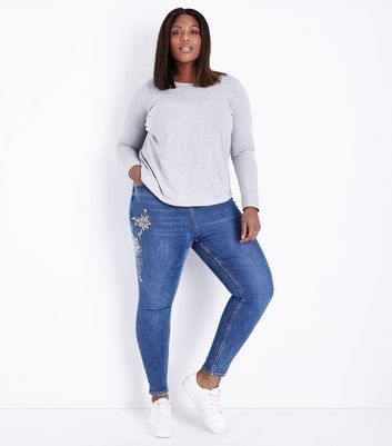 Curves Blue Floral Embroidered Skinny Jeans
