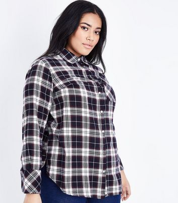 Curves Navy Check Long Sleeve Shirt