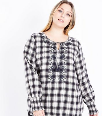 Curves Black Check Cross Stitch Tie Neck Blouse