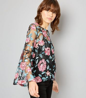 Blue Vanilla Black Mesh Floral Embroidered Top