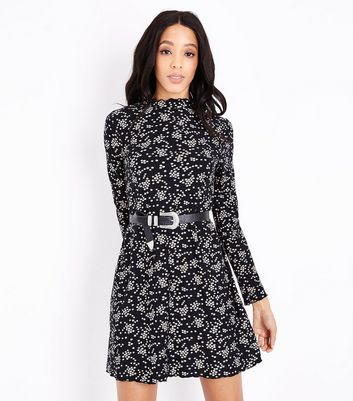 Black Ditsy Floral Jersey Swing Dress