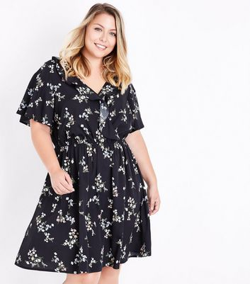 Curves Black Floral Frill Trim Dress