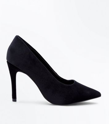 Wide Fit Black Velvet Pointed Courts