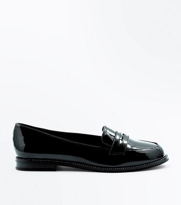 Wide Fit Black Patent Diamante Trim Loafers