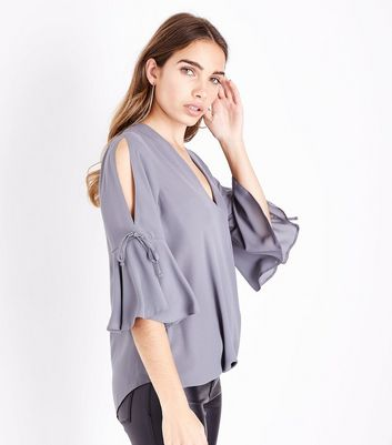 Pale Grey Flared Sleeve Wrap Front Top
