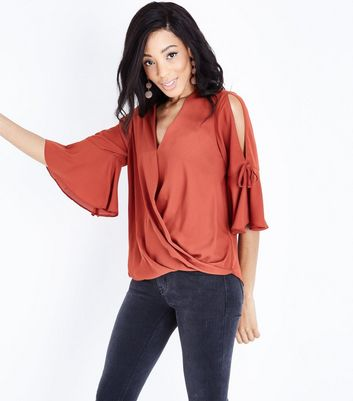 Rust Flared Sleeve Wrap Front Top