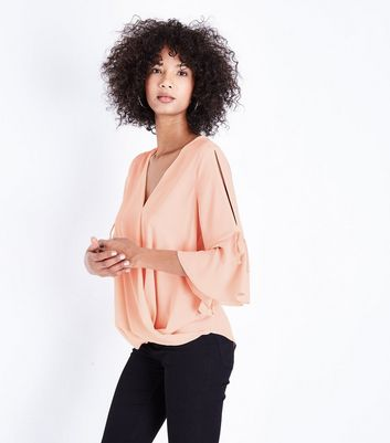 Pale Pink Flared Sleeve Wrap Front Top