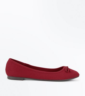 Wide Fit Dark Red Ribbed Ballet Pumps