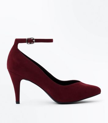 Wide Fit Burgundy Suedette Ankle Strap Court Heels