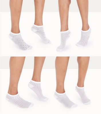 4 Pack White Spot And Ribbed Trainer Socks