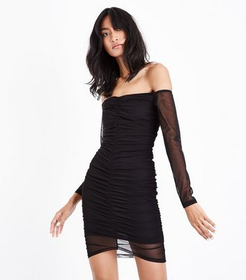 Black Mesh Sweetheart Bardot Neck Bodycon Dress