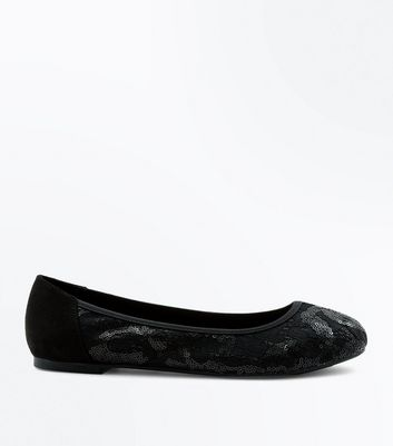 Wide Fit Black Sequin Lace Ballerina Pumps