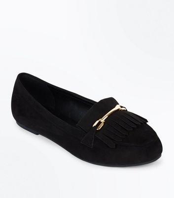 Wide Fit Black Suedette Fringe Trim Loafer