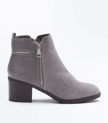 Wide Fit Grey Comfort Croc Texture Ankle Boots