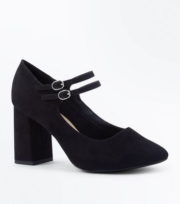 Wide Fit Black Comfort Flex Suedette Mary Jane Courts